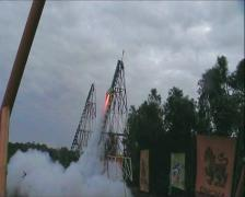 ROCKET FESTIVAL LIFT OFF SMOKE CELEBRATION Stock Footage