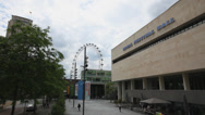 Stock Video Footage of Royal Festival Hall, Southbank Centre, London Eye, Bus