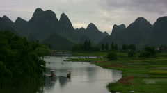 Amazing Yangshuo valley in China Stock Footage