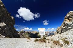 high Dolomites pass with directions - stock photo
