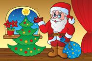 Stock Illustration of Santa Claus indoor scene 4