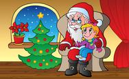 Stock Illustration of Santa Claus indoor scene 1