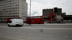 London Westminster Red Buses Pickup Commuters - stock footage