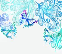 Colorful background with butterfly and floral ornament Stock Illustration