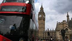 Red London Buses, Houses Of Parliament, Big Ben, Routemaster, Black Cab Stock Footage