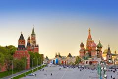 Red square, Moscow at sunset Stock Photos