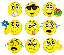 Various smileys  - stock illustration
