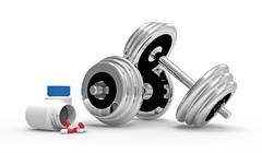 Dumbbells with vial of pills - stock photo