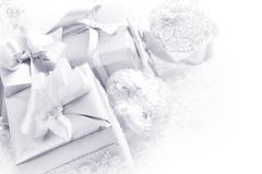 Silver christmas card - stock photo
