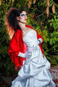 Bride with red shawl - stock photo