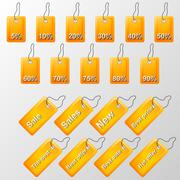 Illustration of orange labels with offers Stock Illustration