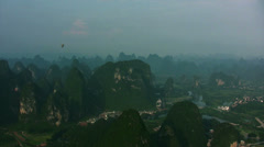 Yangshuo from hot air ballon - stock footage