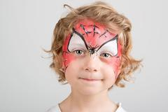 Face painting, spider web - stock photo