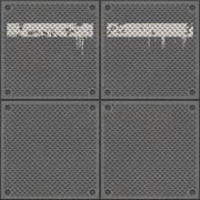 Rugged old anti-slip metal grid-tile floor texture with scratches, rust marks an - stock illustration