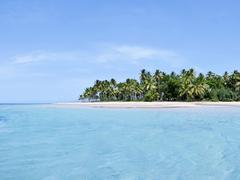 Tropical island panorama in the carribean - stock photo