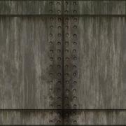 Old grungy brushed steel wall tiles with bolts background seamless texture perfe Stock Illustration
