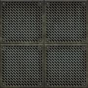 Rugged old anti-slip metal grid-tile floor texture with scratches and rust marks - stock illustration