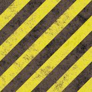 Old grungy yellow hazard stripes on a black asphalt - seamless texture perfect f Stock Illustration
