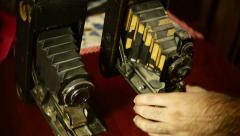Old timey cameras bellows retro Stock Footage