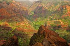 Upea ilmakuva osaksi Waimea Canyon, Kauai, Hawaii Kuvituskuvat
