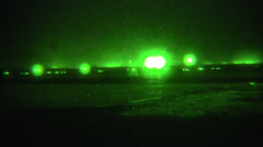 Night Vision: Special Ops Soldiers with Weapons Walking off on Mission Stock Footage