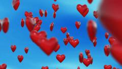 Hearts over blue sky Stock Footage