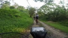 Mountain Biking In Malaysia Muddy Country Road After Rain Stock Footage