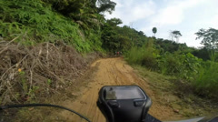 Mountain Biking In Malaysia Muddy Country Road AfterRain Stock Footage