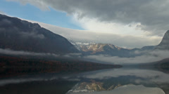 Time lapse of the misty Bohinj Lake in Slovenia Stock Footage