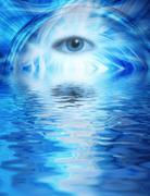 Human eye on blue abstract background reflected in rendered water Stock Photos