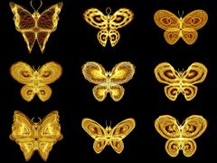 Selection of Fractal Butterflies - stock illustration