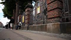 Slidershot gate of Vor Frelsers church Copenhagen Stock Footage