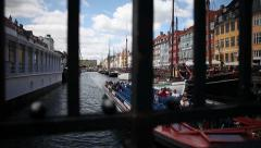 Slidershot harbor Christianshavn Copenhagen Stock Footage