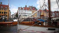 Slidershot Harbor of Copenhagen Stock Footage