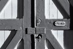 Old Barn Door Marked Private Stock Photos