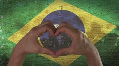 Hands Heart Symbol Brazilian Flag Stock Footage