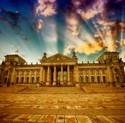 Berlin Reichstag Building in winter . Sunset colors from Platz d Stock Photos