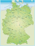 Map of germany with aquatic network Stock Illustration