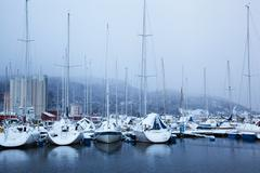 Winter view of a marina in Trondheim at stormy weather Stock Photos