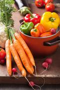 Various fresh vegetable in casserole Stock Photos