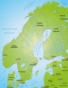 Map of scandinavia Stock Illustration
