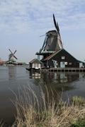 Windmills in Open-air Museum Zaanse Schans - stock photo