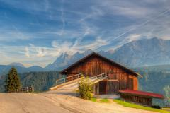 Old woodshed in Austria - stock photo