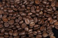 Coffee beans, natural source of antioxidants - stock photo