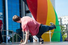 dancer-guy amateur break-dance - stock photo