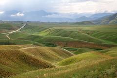 green hills highland mountain landscape, Kyrgyzstan, Central Asi - stock photo