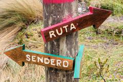 wooden signpost with two arrows pointing to the left and right - stock photo