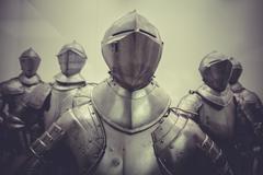 Antique medieval iron armor, spanish armada Stock Photos