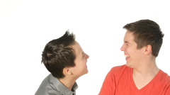 Teenager brothers laughing Stock Footage