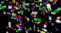 Pills drugs capsules falling slow motion closeup DOF loop Footage